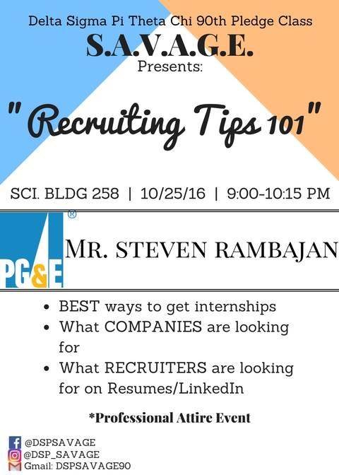 Recruiting Tips 101 - PG&E Guest SPeaker - Savage 90th